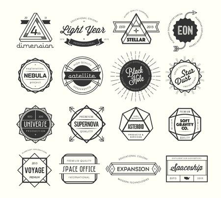 set van vintage badges en labels, geïnspireerd door de ruimte thema's, illustratie Stock Illustratie