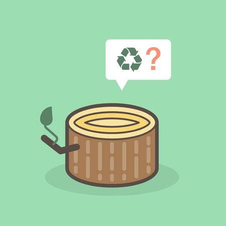 deforestation: cut of tree trunk pleading for recyclation, illustration Illustration