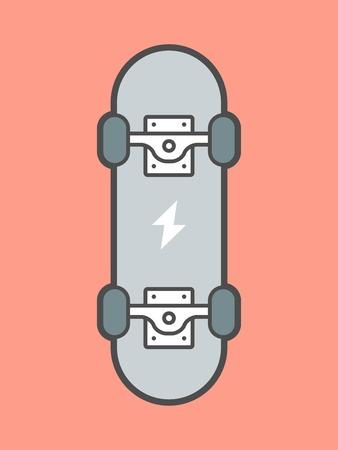 skateboard park: patineta aislado en fondo rojo, ilustraci�n