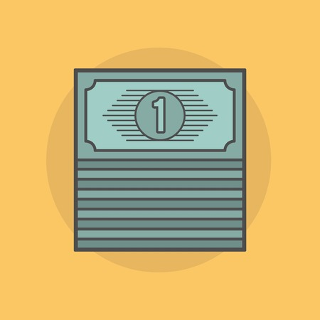 greenback: stack of banknotes isolated on yellow background, illustration