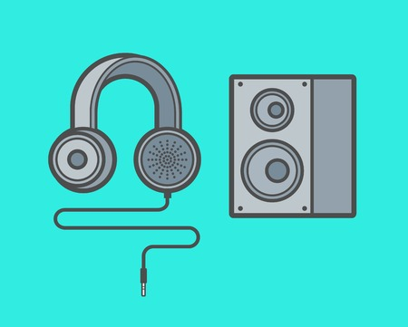 woofer: set of earphones and woofer, illustration Illustration