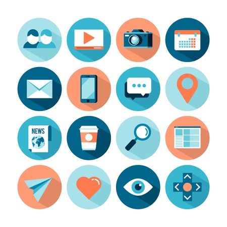 set of flat style social media icons, illustration Vector