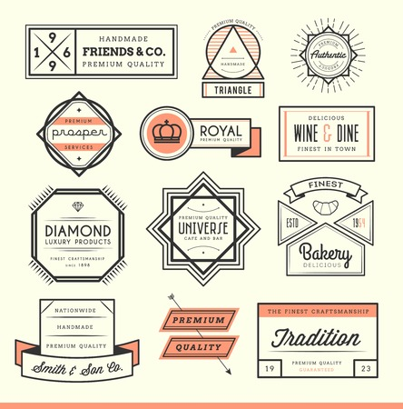 set of vintage icon, badges and labels, illustration Vector
