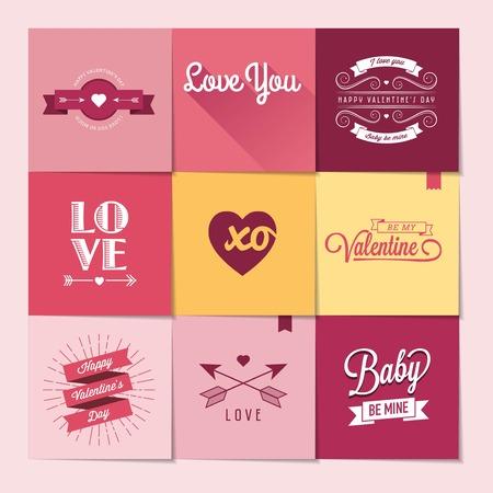 be mine: set of nine Valentines day stickers, illustration