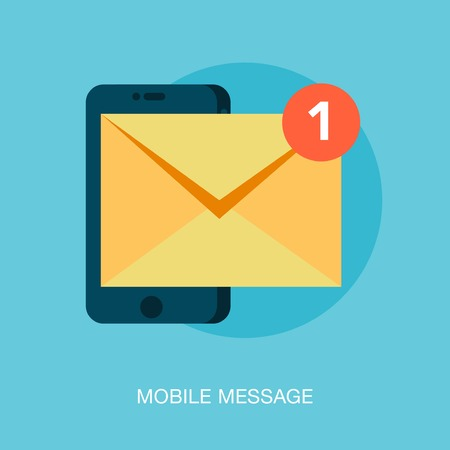 message icon: mobile phone receiving a new message, illustration