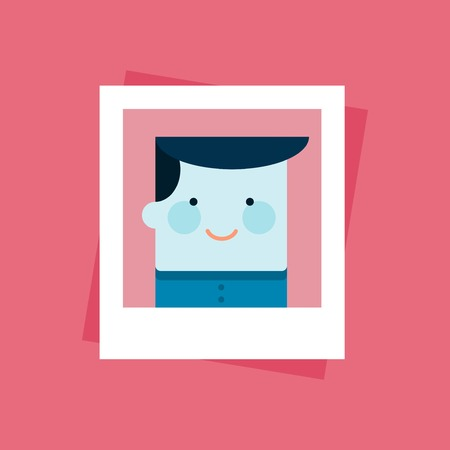 personality character: portrait photo of a smiling person, illustration Illustration