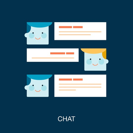 comments: concept banner of two friends chatting Illustration