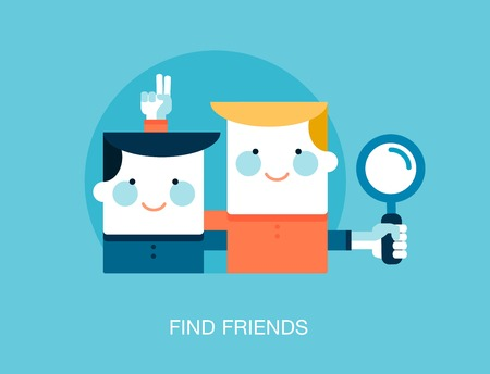 friends together: concept of looking for friends on the internet Illustration