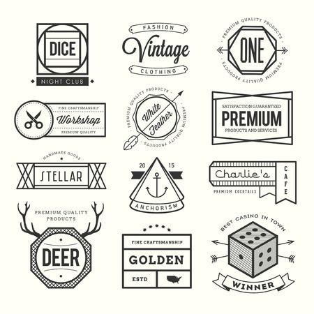 dados: conjunto de la vendimia icono, insignias y etiquetas