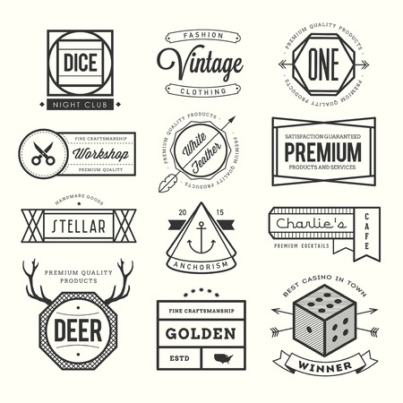 set of vintage icon, badges and labels Vector