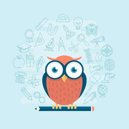 buho graduacion: b�ho inteligente de pie en el l�piz rodeado de iconos de la educaci�n l�nea tem�ticas delgadas, ilustraci�n