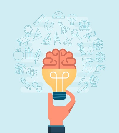 hand holding light bulb with a brain surrounded with set of thin line icons, illustration