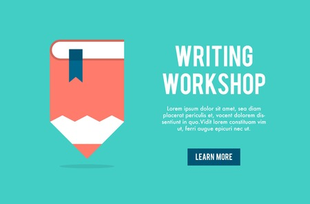 text books: banner concept for writing workshop, illustration