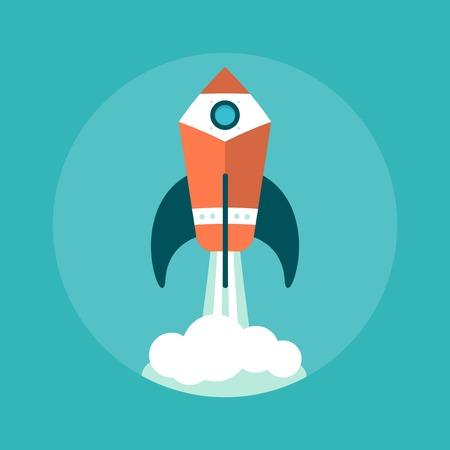 high up: pencil rocket flying high up, illustration