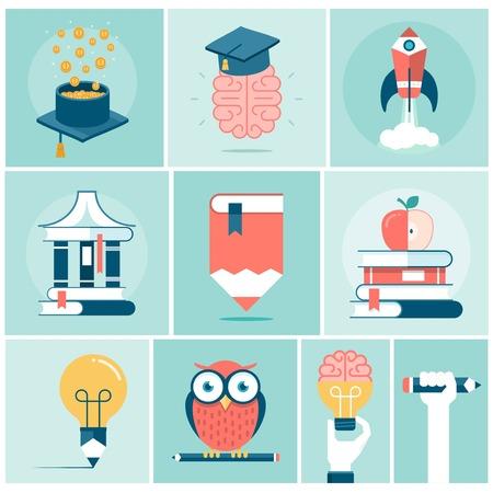 buho graduacion: conjunto de la educaci�n relacionada concepto pancartas, ilustraci�n