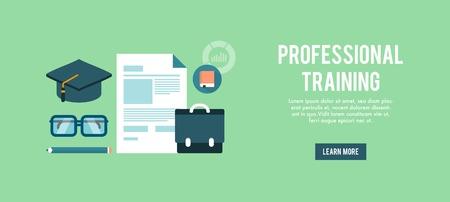 banner for professional training, flat illustration