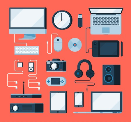 electronic devices: collection of various electronic devices, flat style illustration