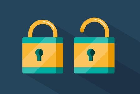 locked and unlocked padlocks illustration Illustration