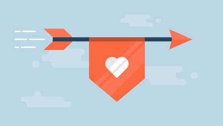 flaying: flaying arrow with a ribbon with a heart shape, flat style illustration