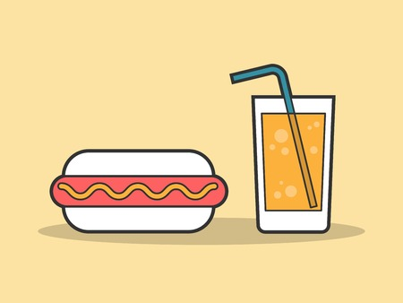dog outline: hot dog and a glass of soda, flat line illustration