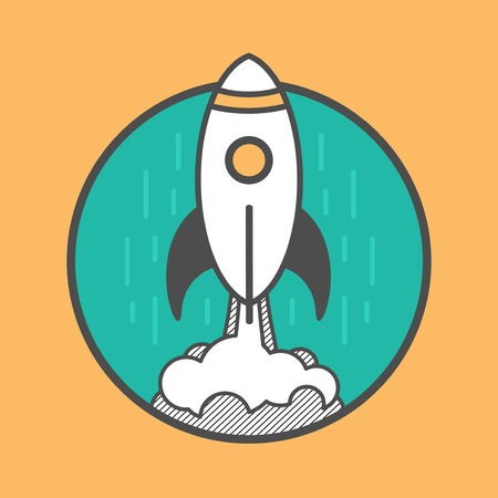 launching: rocket launching up, flat line style concept illustration