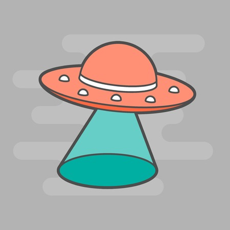flying object: cute unidentified flying object, flat illustration