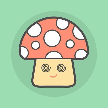 champignon magique: champignon magique mignon avec des yeux en spirale, illustration