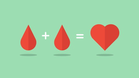 sign equals: blood donation saves lives, illustration