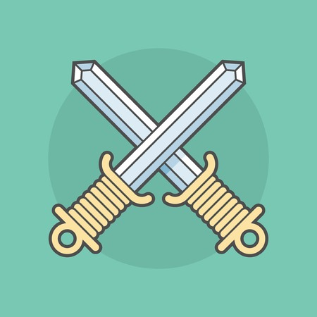 duel: two swords crossed isolated on a background, flat illustration