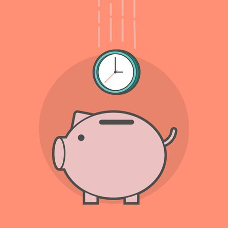 save time: piggy bank with a clock Illustration