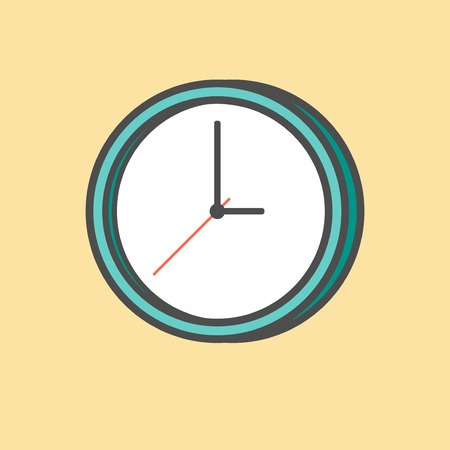 organise: clock isolated on yellow background
