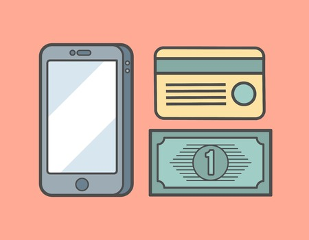 method: payment methods concept isolated on red background,concept illustration Illustration