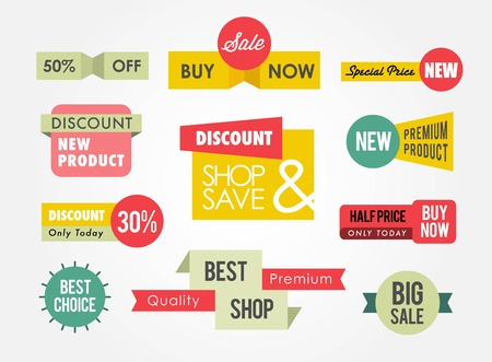 retail: set of sale banners and badges Illustration