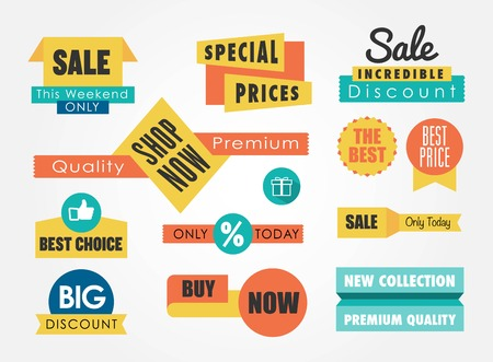 set of sale banners and badges Vector