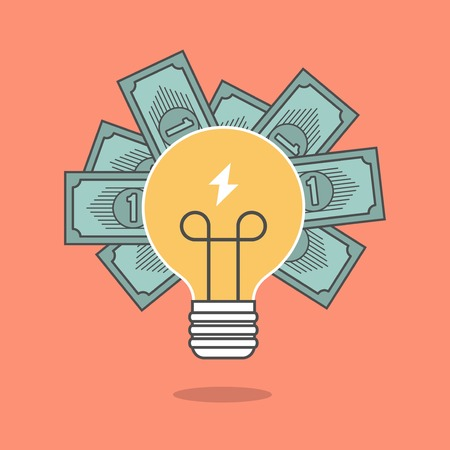 investment ideas: concept of crowdfunding, light bulb and money
