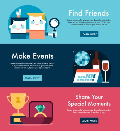 Set of social media themed web banners Vector
