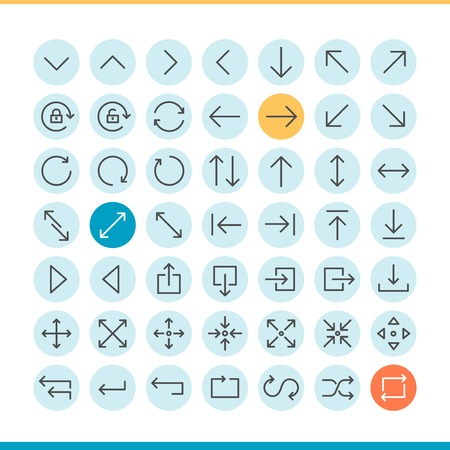up and down: set of thin line arrow icons