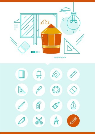 thin bulb: concept of drawing and illustration with related set of icons Illustration