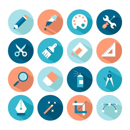 set of artistic and design tools icons Vector