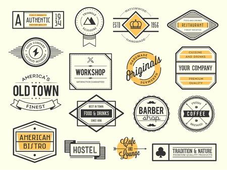 vintage: zestaw starych ikon, odznaki i etykiet Ilustracja