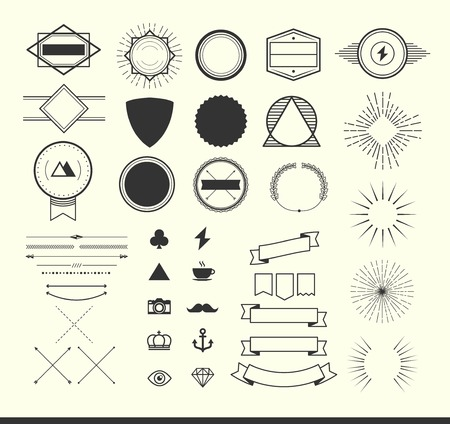 sun: set of vintage elements for making icon, badges and labels.