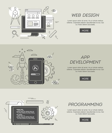 banners for web design, app development and programming