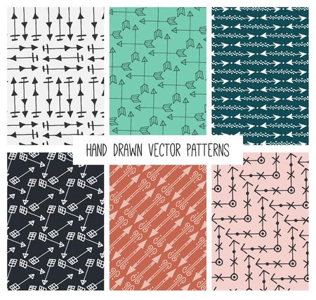 inc: vintage hand drawn arrow patterns, vector illustration