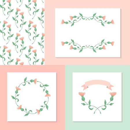 nature beauty: set of hand drawn floral elements, vector illustration Illustration