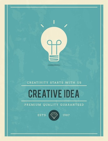insight: vintage poster for creative idea, vector illustration