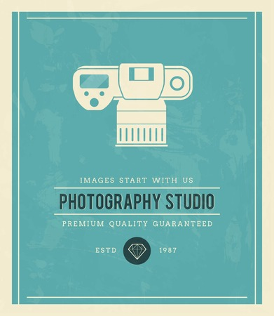 dslr camera: vintage poster for photography studio, vector illustration