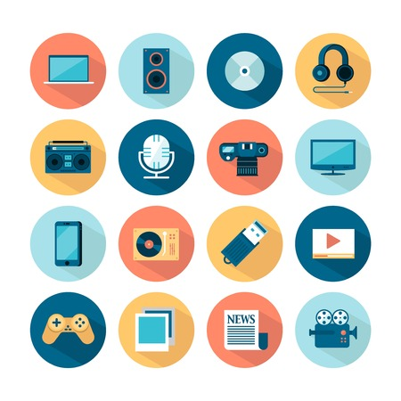 flat screen tv: set of flat multimedia icons, vector illustration Illustration