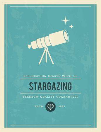 established: vintage poster for stargazing, vector illustration Illustration