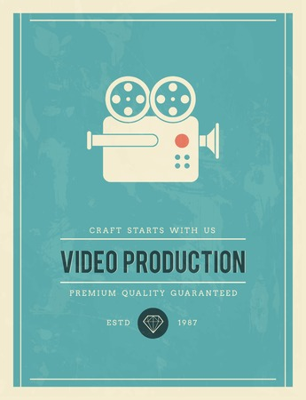 film production: vintage poster for video production, vector illustration