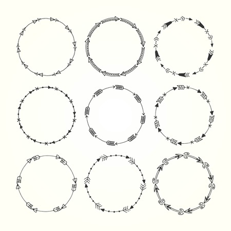inc: vintage hand drawn decorative frames made of arrow elements, vector illustration
